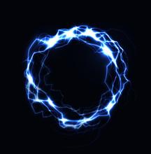 Realistic Lightning Ring, Energy Ball, Magic Sphere, Blue Color Plasma On Dark Background. Isolated Vector Illustration