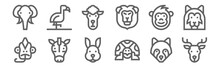 Set Of 12 Wildlife Icons. Outl...
