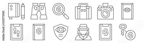 Fototapeta set of 12 detective icons