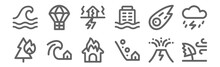 Set Of 12 Disaster Icons. Outline Thin Line Icons Such As Windy, Landslide, Tsunami, Meteor, Earthquake, Airdrop