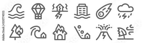 set of 12 disaster icons Canvas