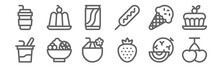 Set Of 12 Summer Food And Drink Icons. Outline Thin Line Icons Such As Cherries, Strawberry, Fruit Salad, Ice Cream Cone, Soft Drink, Jelly