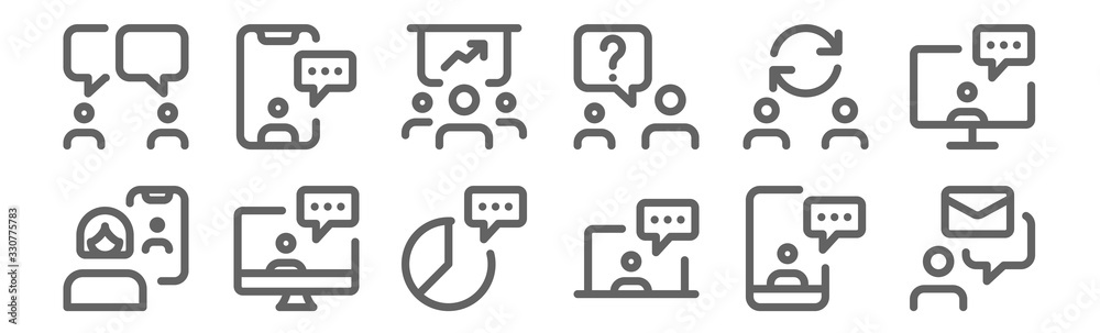 Fototapeta set of 12 meeting icons. outline thin line icons such as email, chatting, chatting, switch, discussion, chatting