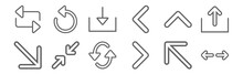 Set Of 12 Arrows Icons. Outlin...