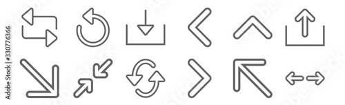 set of 12 arrows icons Wallpaper Mural