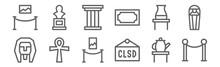 Set Of 12 Museum Icons. Outlin...