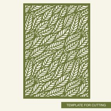 Decorative Rectangular Panel. Green Botanical Pattern Of Leaves. Openwork Template For Laser Cutting, Metal Engraving, Wood Carving, Plywood, Cardboard, Paper Cut. Plant Theme. Vector Illustration.