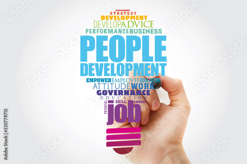 Photo People Development light bulb word cloud collage, business concept background