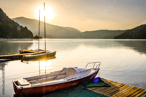 sailboat at a lake Fototapeta