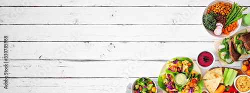 Healthy lunch food corner border Canvas