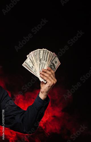 Photo old man with dollar bills