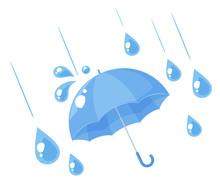 傘と雨粒のイラスト