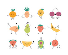 Cute Fruits And Berries In Yoga Pose. Apple, Banana, Pear And Other Fruits Practicing Yoga And Meditates. Funny Vector Cartoon Characters Isolated On White Background