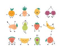 Cute Fruits And Berries In Yog...