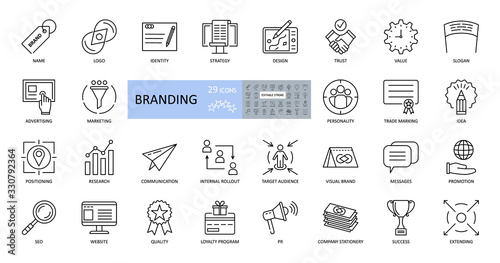 Obraz Branding icons. Set of 29 vector images with editable stroke. Includes name, logo, strategy, advertising, idea, slogan, trust, website, values, target audience, promotion, loyalty program, quality - fototapety do salonu