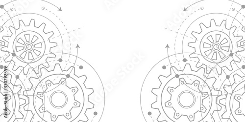 Fototapeta Technical drawing of gears .Rotating mechanism of round parts .Machine technology. Vector illustration. obraz