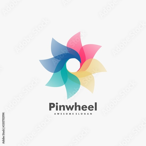Valokuvatapetti Vector Logo Illustration Pinwheel Gradient Colorful Style.