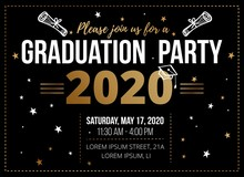 Graduation Party Design Template On Black Vector Illustration. Bright Decorated Invitation Card With Time And Place Information Flat Style. Finish Of Education Concept