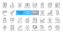Vector Business Plan Icons. Set Of 29 Images With Editable Stroke. Includes Planning, Financing, Grant, Audience, Presentation, Marketing, SWOT Analysis, Startup, Conflict Of Interest, Elevator Pitch