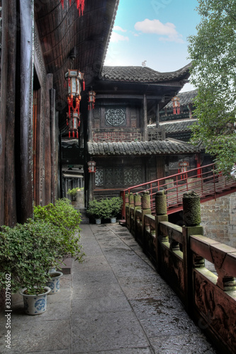 Photo Traditional Chinese wood house complex in the south Hunan Province, Tu Minority