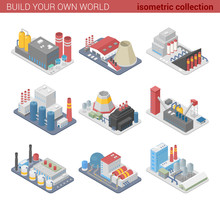 Isometric Factories Plants Fla...