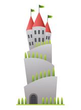 Flat Vector Fairy Tale Castle....