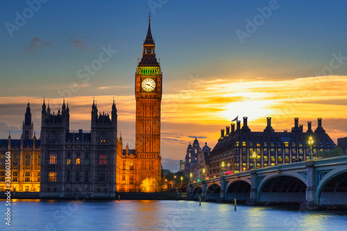 Leinwand Poster Big Ben and Westminster Bridge in London at sunset, UK