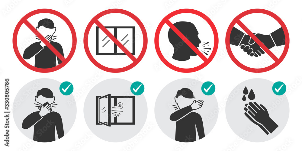 Fototapeta Preventive measures icons for not getting sick and not spreading virus. Set of prohibition signs