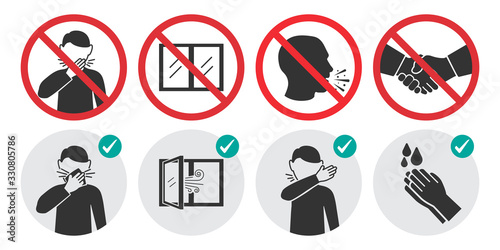 Preventive measures icons for not getting sick and not spreading virus. Set of prohibition signs - 330805786