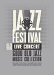 Vector poster for a jazz festival or live music concert with a microphone on the gray background in retro style. Good old jazz, music collection. Suitable for flyers, invitations, banners, advertising