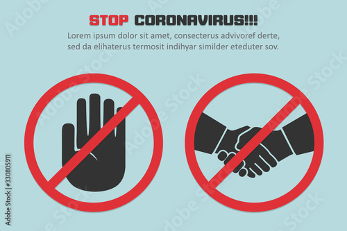 Stop coronavirus with red prohibit no handshake sign in a flat design concept background