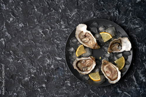 Open oysters with slices of lemon, crushed ice on a black dish on a dark stone background Canvas Print