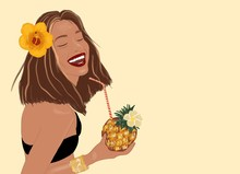 Illustration Of A Beautiful Smiling Woman With Hair Flower And Exotic Cocktail On The Yellow Background. Concept Of An Exotic Summer Vacations, Beauty And Wellness