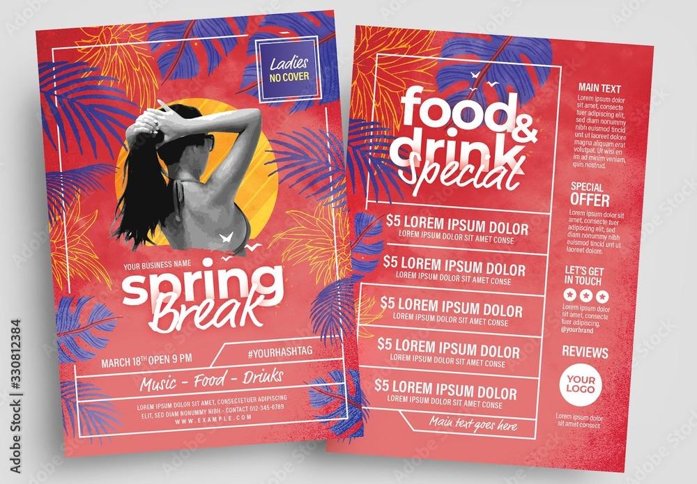Fototapeta Spring Break Flyer Layout with Modern Style