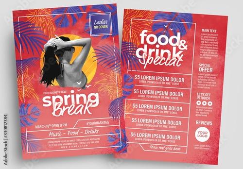 Obraz Spring Break Flyer Layout with Modern Style - fototapety do salonu