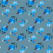 Seamless watercolor raster pattern. Blue flowers on a green background.