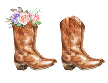 Watercolor Illustration With Cowboy Boots And Floral Decorations.