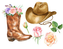 Watercolor Illustration With Cowboy Boots Hat And Rose.