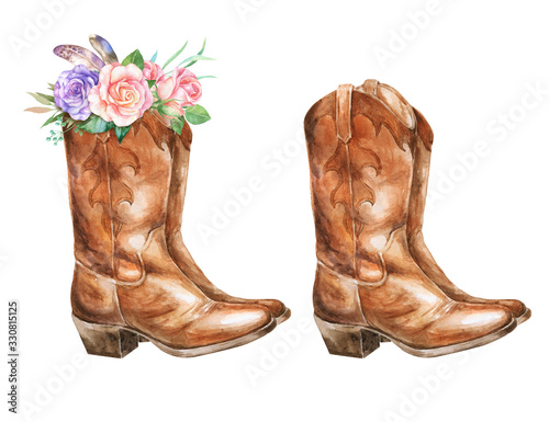 Watercolor illustration with cowboy boots and floral decorations. Wallpaper Mural