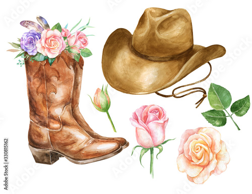 Valokuva Watercolor illustration with cowboy boots hat and rose.