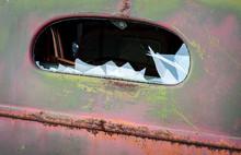 Broken Rear Window In Cab Of O...