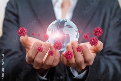 Fototapeta Concept of world support from coronavirus disease. obraz