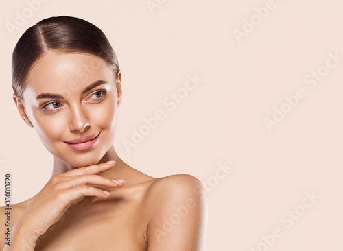 Fototapeta Woman lips face neck hands fingers beauty concept healthy skin obraz