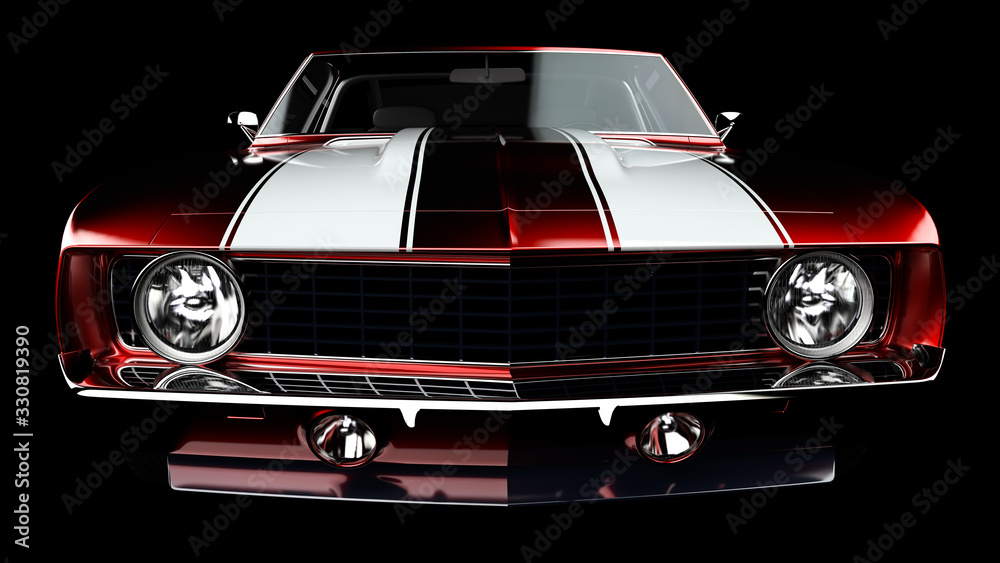 Fototapeta 3D illustration. Muscle red car rendering isolated on black background. Vintage classic sport car. Car show. Wheels. Bumper. Front perspective view. Chevrolet camaro.