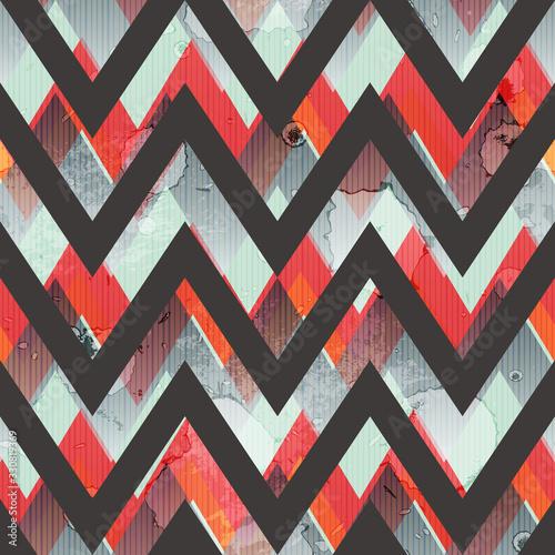 Obraz na plátně Zigzag grunge seamless pattern