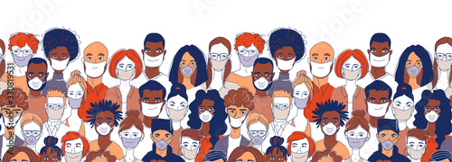 Fotografie, Obraz Diverse crowd group people wearing medical masks protection coronavirus epidemic