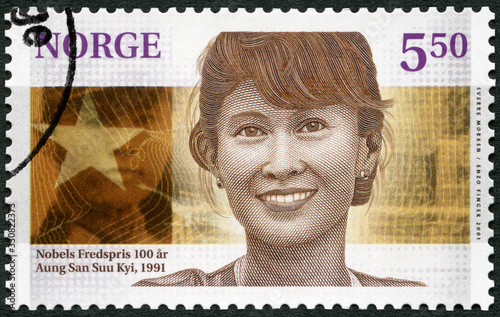 Photo NORWAY - 2001: shows Aung San Suu Kyi ( born 1945), diplomat, The Nobel Peace Pr