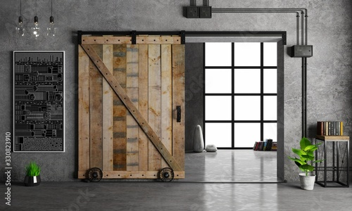 Barn Sliding Wooden Door in Loft Room Poster Mural XXL