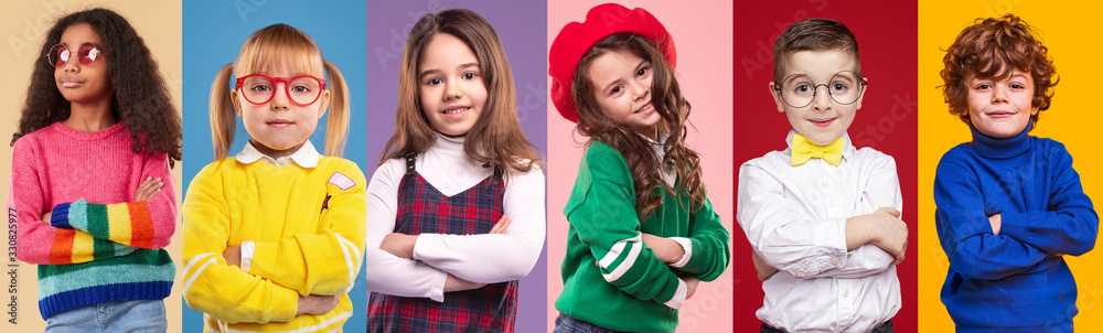 Fototapeta Multiethnic little girls and boys against colorful background