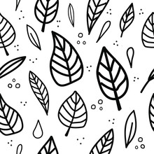 Seamless Vector Pattern. Leaves With A Black Outline On A White Background.Botanical Wrapping Paper, Textile, Background Flat Design